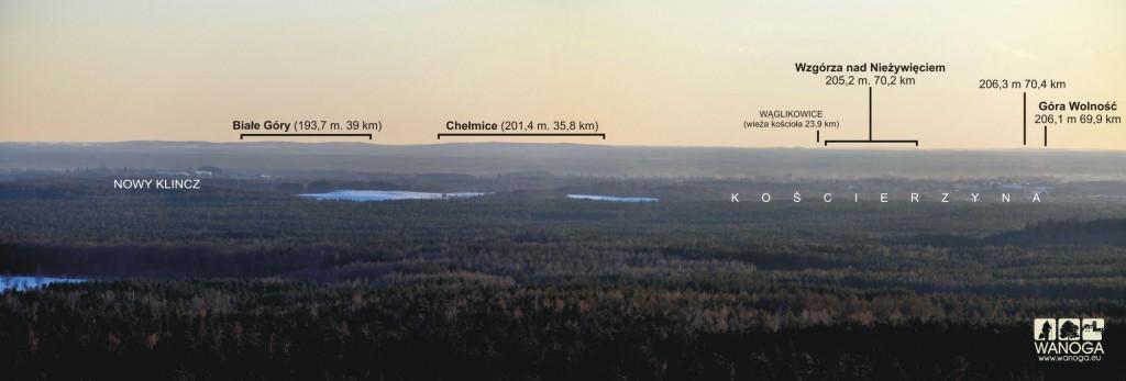 Wycinek panoramy z Wieżycy na SW.