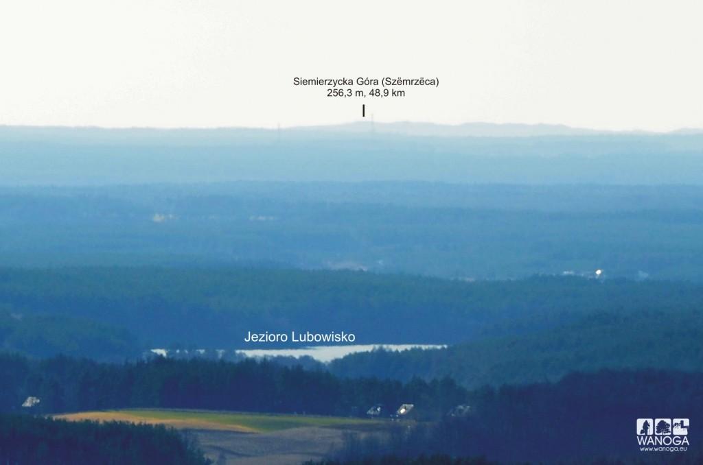 Widok z wieży widokowej na Wieżycy w stronę Siemierzyckiej Góry i moren bytowskich.
