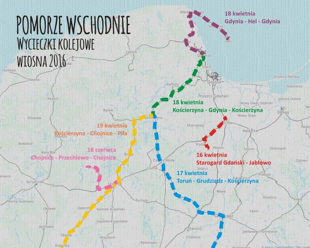 Wycieczki kolejowe po Pomorzu - wiosna 2016